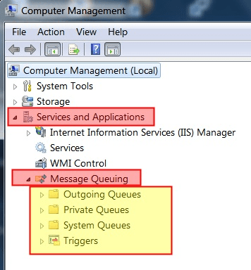 Accessing MSMQ from Computer Management