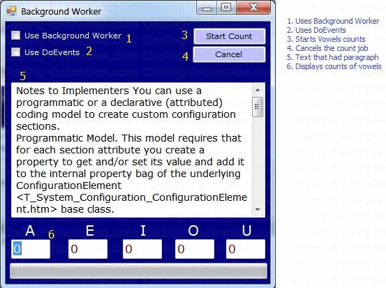 C# BackgroundWroker Component Example