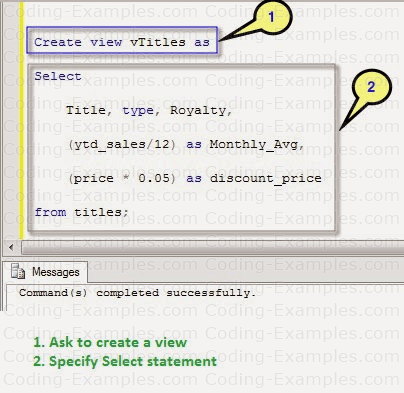 Creating a sql view