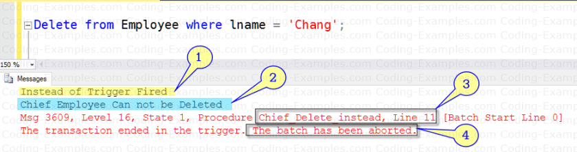 Instead Of Trigger - Result of Delete statement