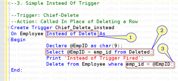 SQL Instead of Trigger Example