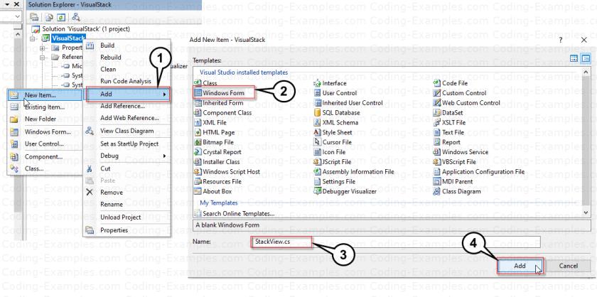 Add C# Windows Form For Stack Debug Visualizer