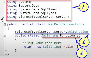 Default SQL-CLR Functions in C# Code Window