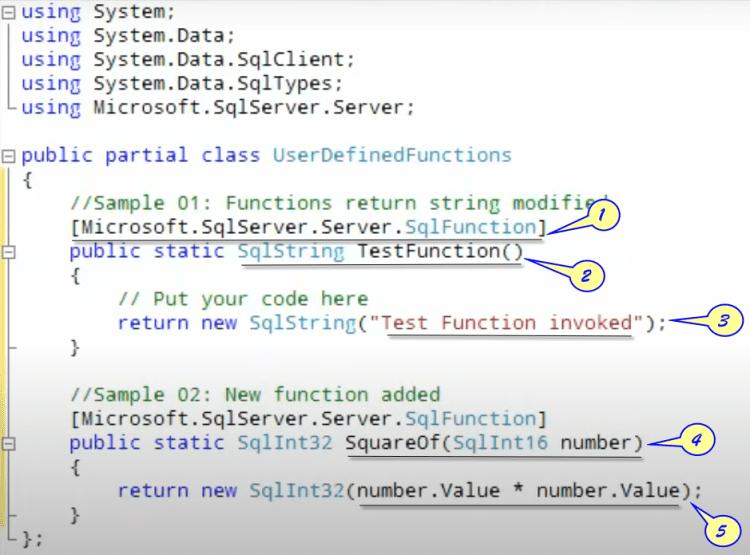 SQL-CLR Functions in C# Code Window