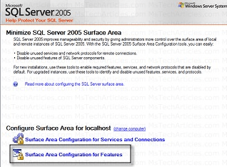 Select Surface Area Config for Feature SQl 2005