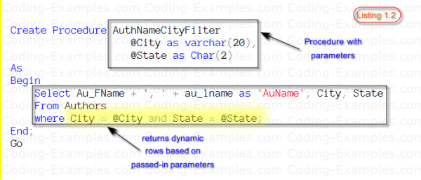 SQL Stored Procedure With Parameters