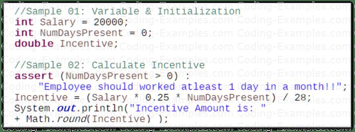 Java Assertion Example