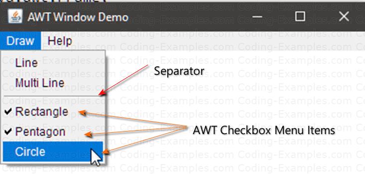 AWT CheckboxMenuItem Example
