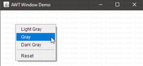Java AWT PopupMenu Example