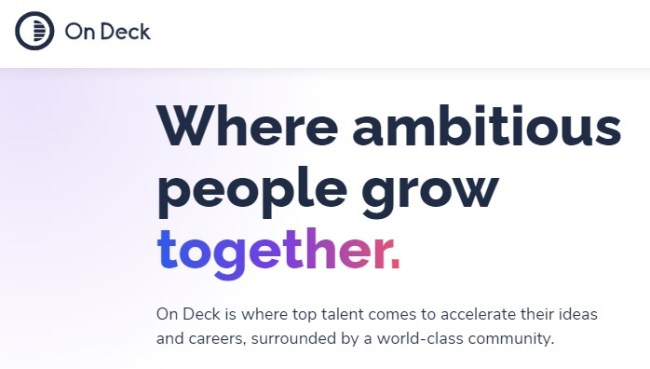 Snapshot on On Deck's home page