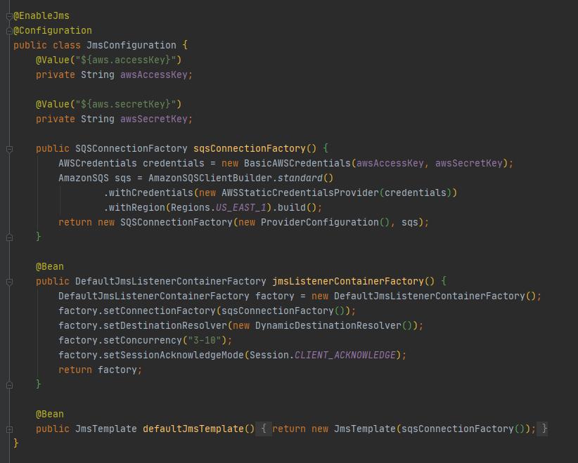 Configuración en el JmsListener