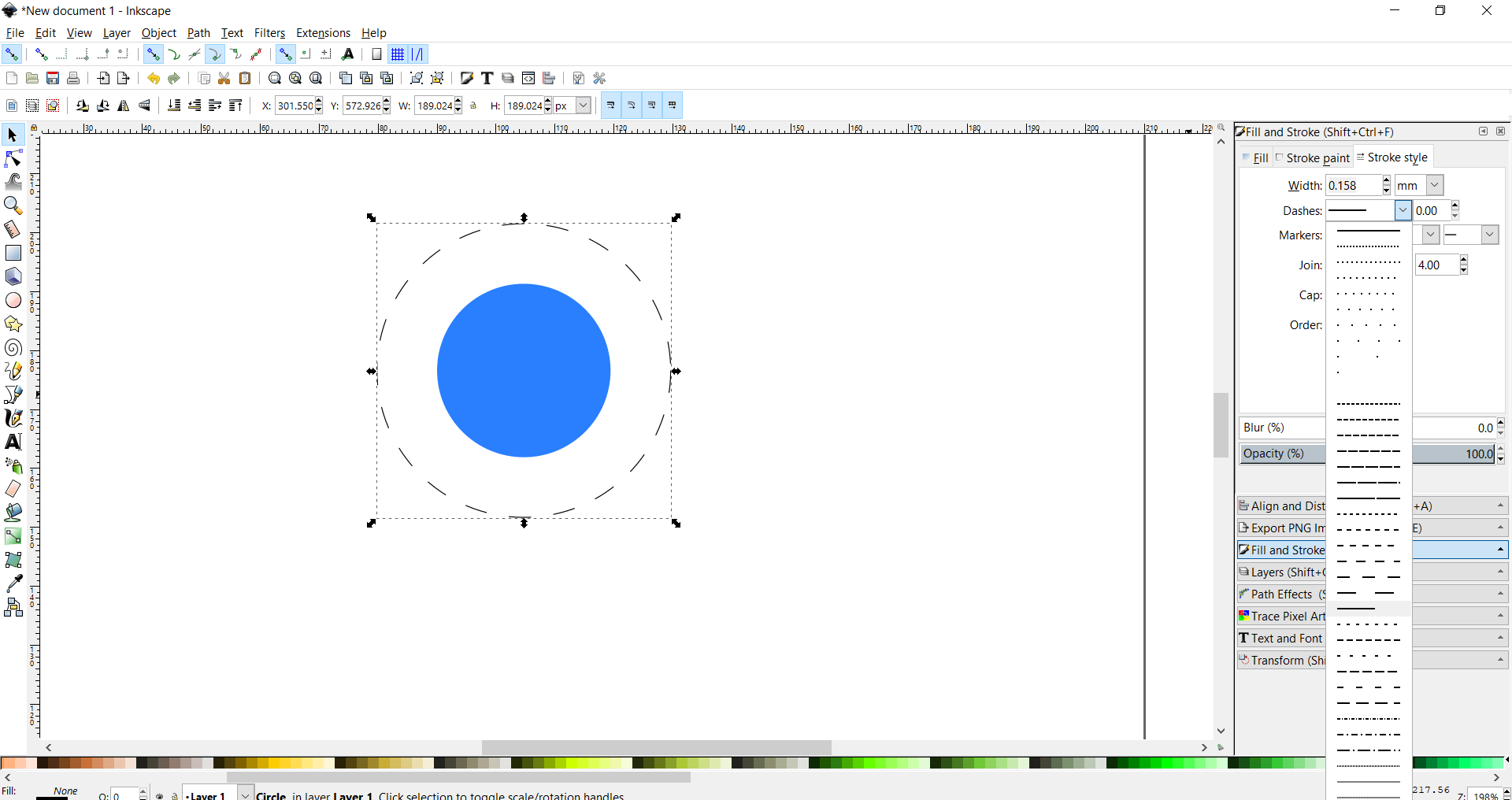 dashed outer circle inkscape