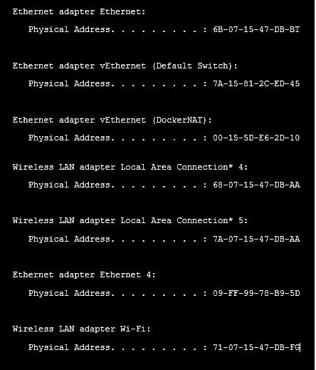 Get all MAC address on windows