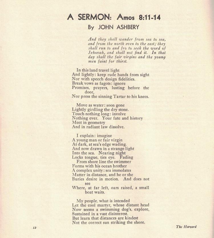 "Harvard Advocate April 1947; first Advocate publication of John Ashbery, ""A SERMON: Amos 8:11-14"