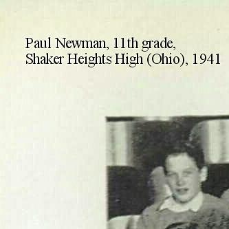 Paul Newman, 11th grade, Shaker Heights High (Ohio), 1941