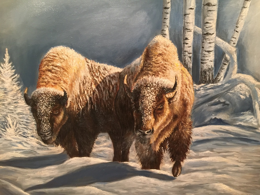 oil painting of bison on a snowy field