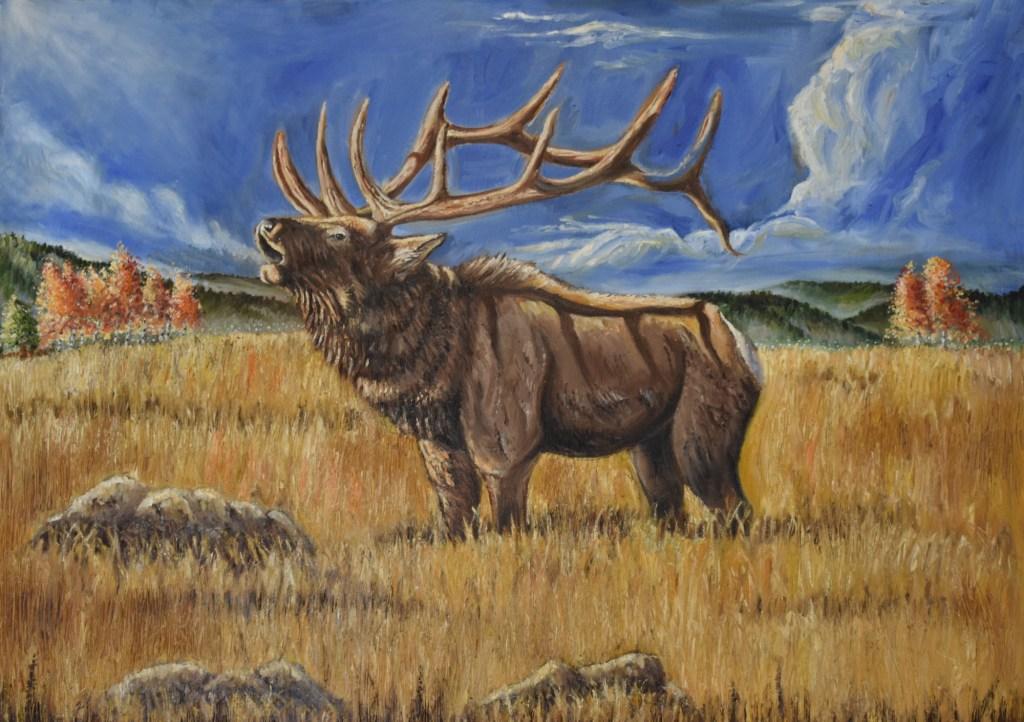 oil painting of bugling elk