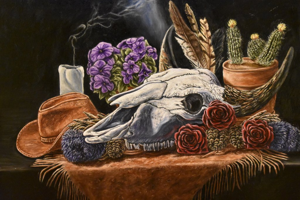 oil painting of still life in Vanitas genre, still life painting of buffalo skull, painting of bison skull