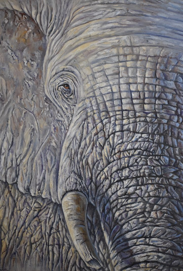 oil painting of African elephant