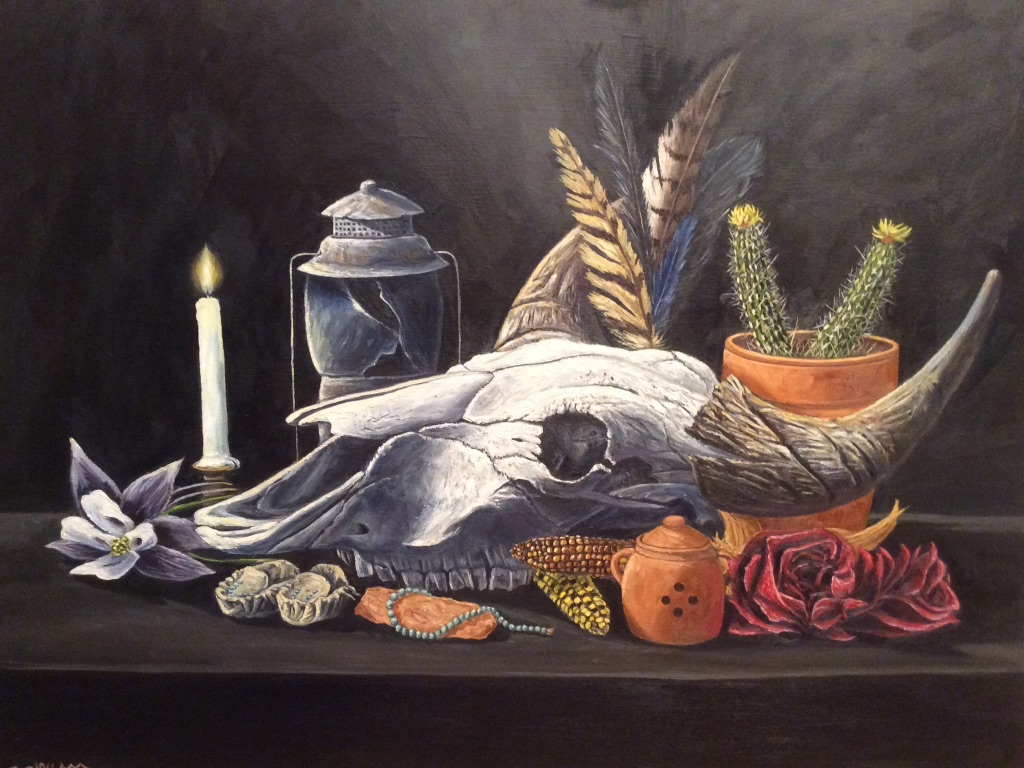 still life oil painting of bison skull in vanitas theme, painting of bison skull