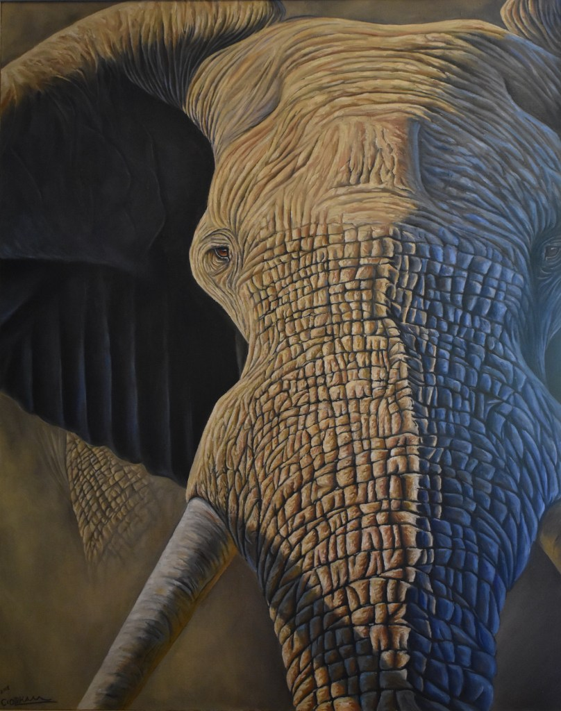 Oil painting of African elephant portrait by Cody Oldham