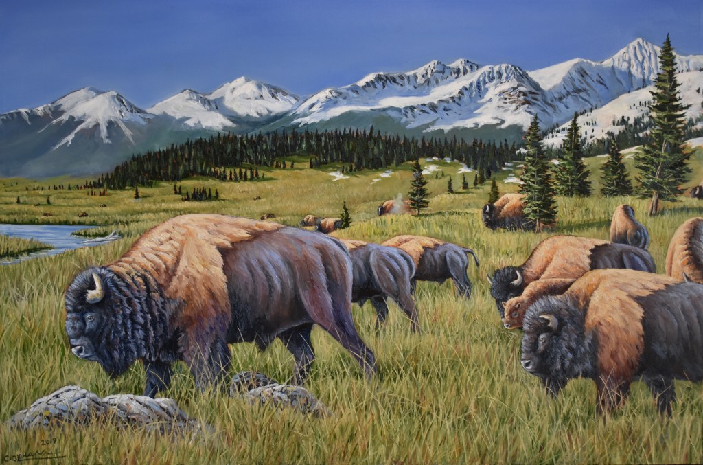 oil painting of bison buffalo in front of snowy peaks