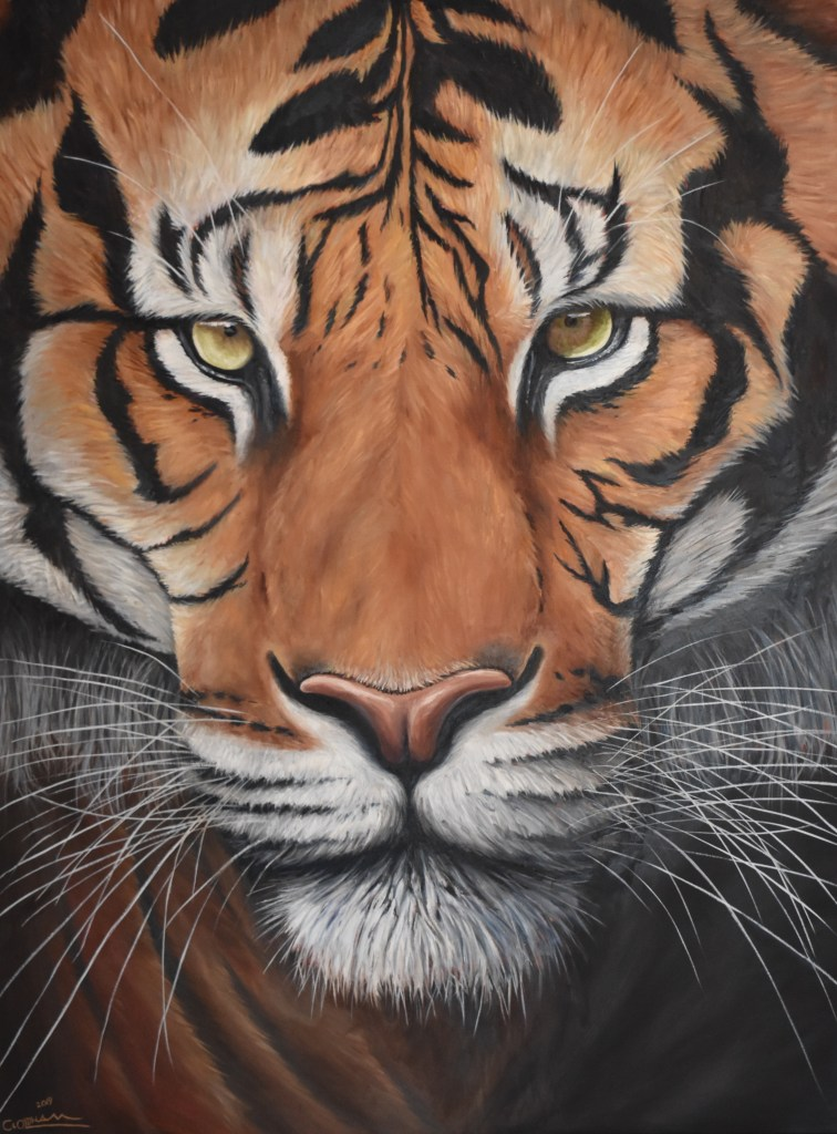 oil painting of bengal tiger