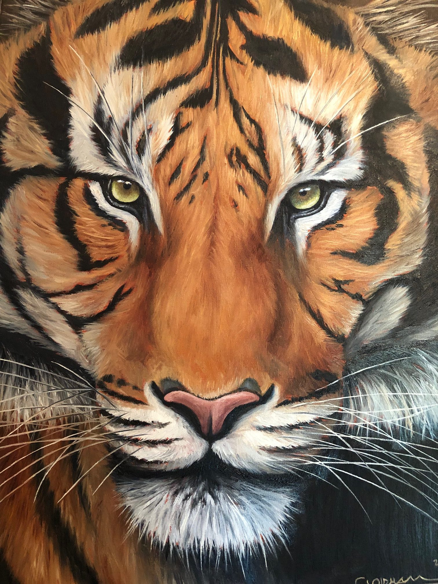Oil painting of Siberian tiger by Cody Oldham
