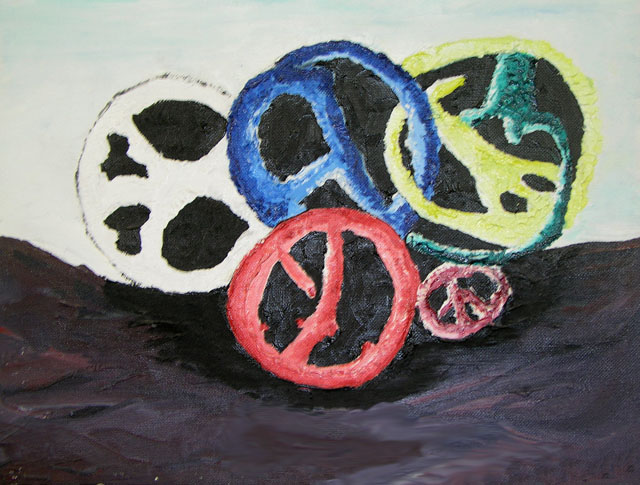 Broken Peace's by Allison Corning - Oil on Canvas Board