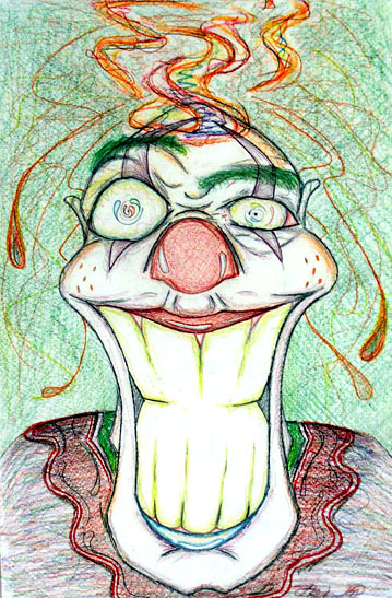 Flaming Clown Head by Bryan Connelly - Colored Pencil on Paper