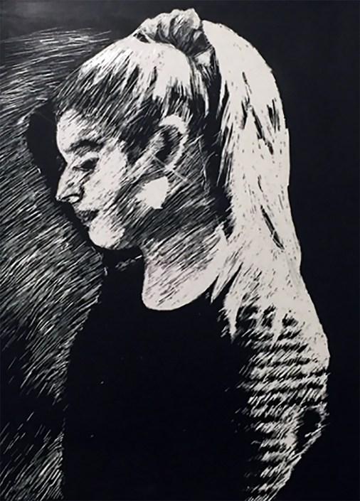 Pony Tail by Abigail Devaney - Scratchboard