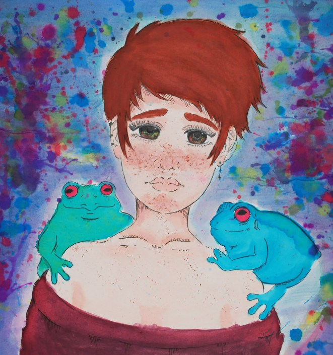 Anura and I by Isabella Wilson - Ink and Watercolor