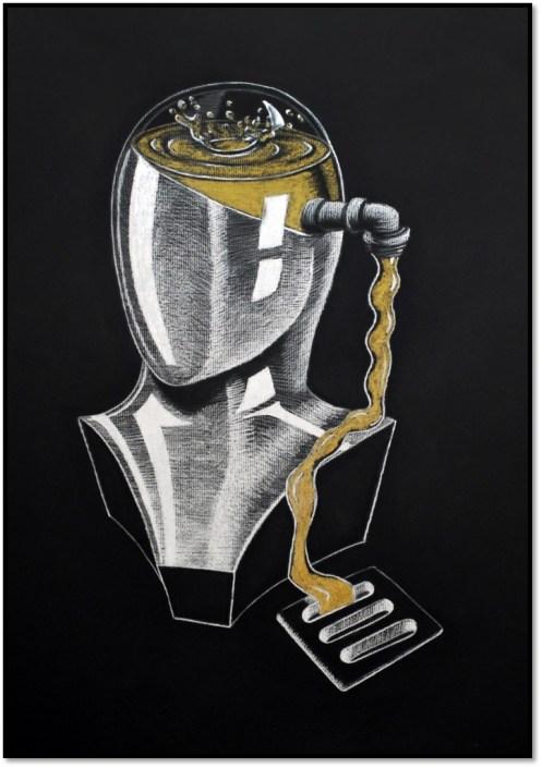 Gold Key: Memory Loss, by Ryu Kondrup - White Charcoal on Black Paper (Drawing - Mr. Chatfield)