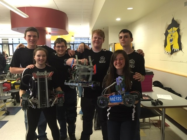 CBNA Robotics Team from left: Alasdair Morrison, Cordelia Norris, Noah Sinnamon, Nick Dyer, Emily Buehne, and Austin Carrier