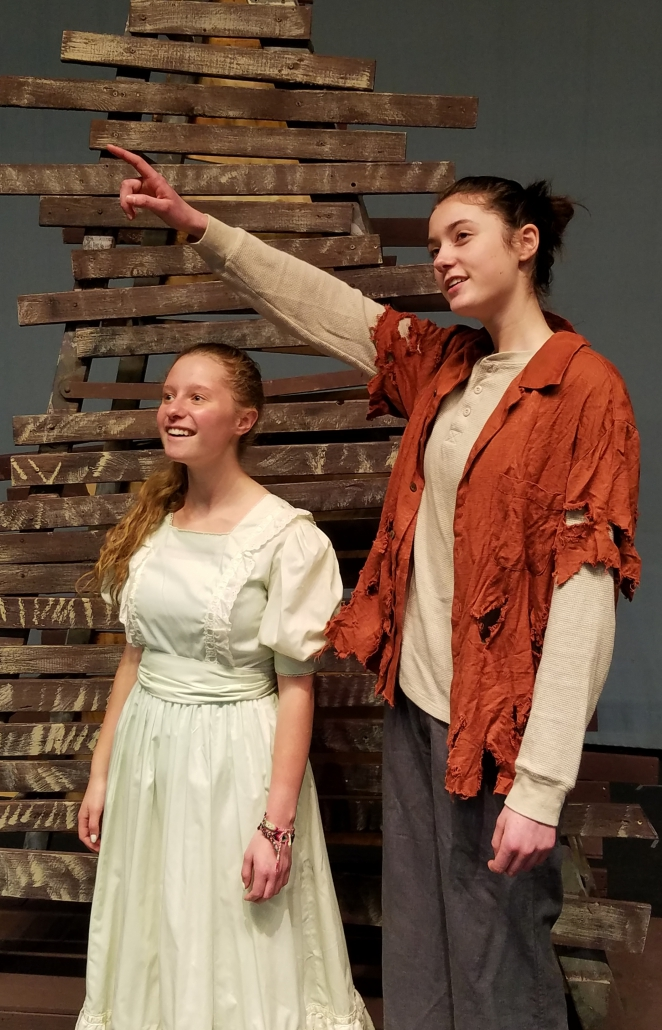 Molly (left) played by Braelin Ash and Boy played by Mairead O'Shea in a scene from Peter and the Starcatcher at CBNA this week