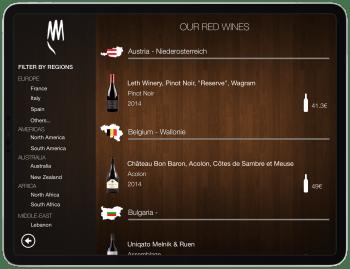 Wine Menu on Tablet