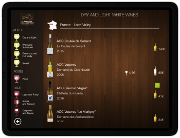 Wine List iPad tasting profile