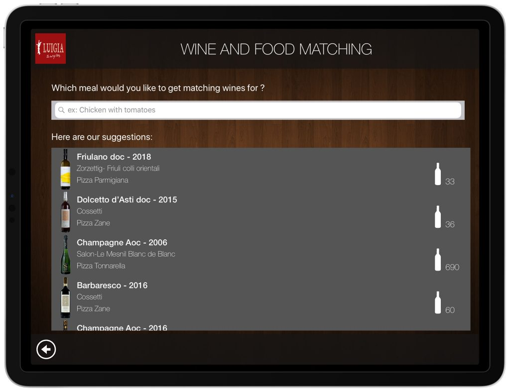 Wine and Food Pairing iPad Wine List Italian Restaurant