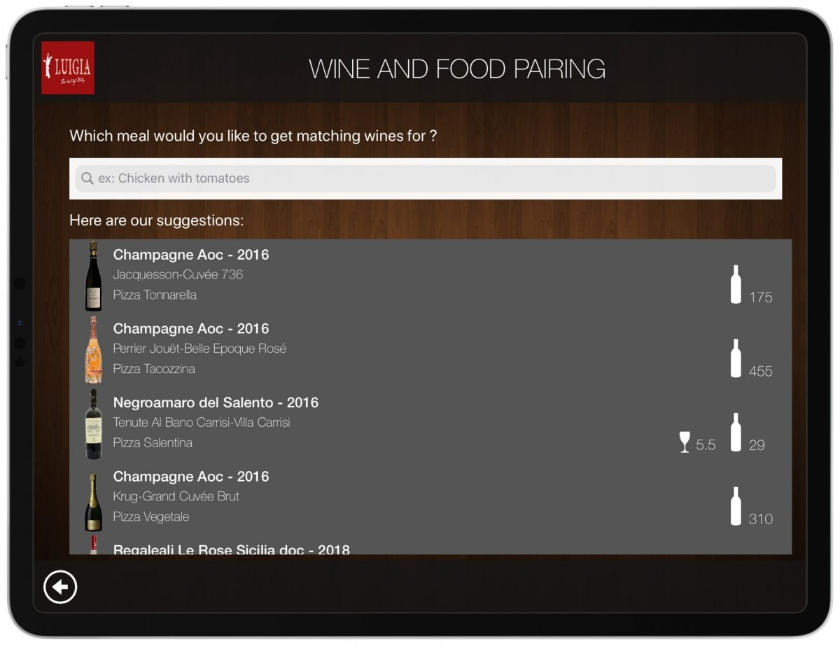Wine Food Pairing List iPad