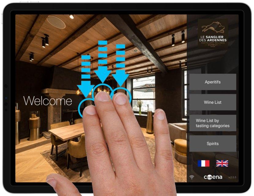 Three fingers swipe down wine list iPad
