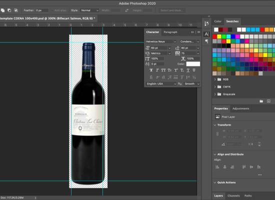 Photoshop wine bottle photo for wine list on iPad
