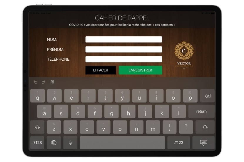 Cahier de rappel restaurant numérique