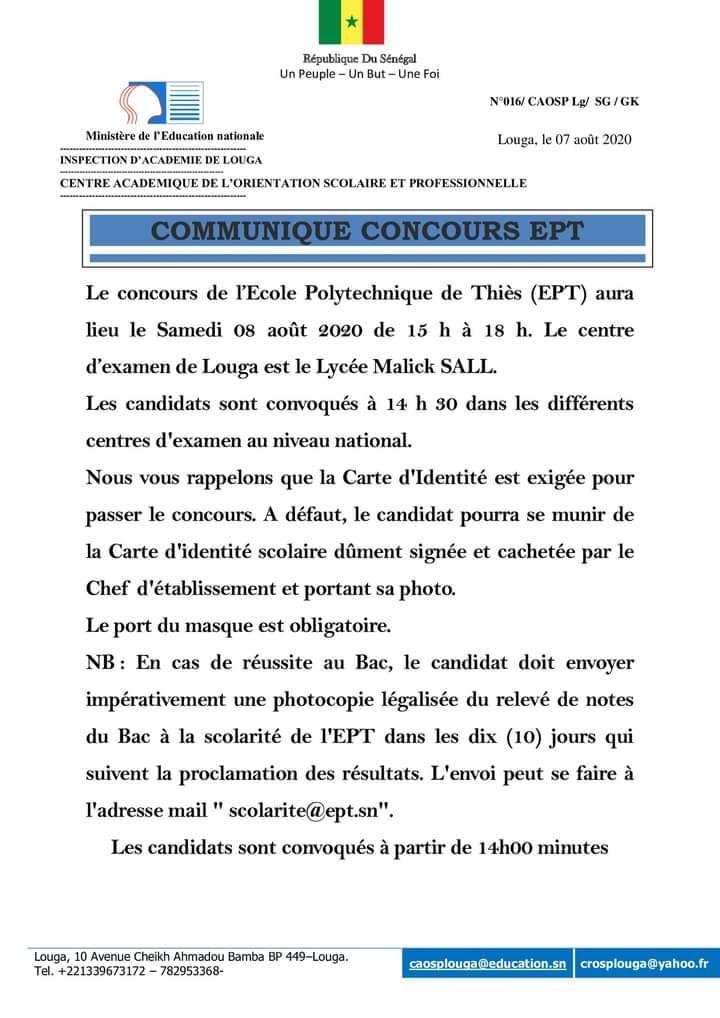 CONCOURS EPT : Les candidats inscrits au concours de l'EPT passeront les épreuves du concours ce Samedi 08 août 2020 à partir de 15h sur l'ensemble des centres.