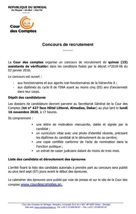 COUR DES COMPTES: RECRUTEMENT DE 15 ASSISTANTS VERIFICATEURS - COE Sénégal