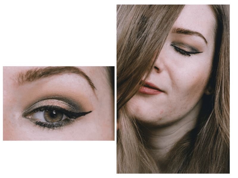 smokey gold and olive eye makeup