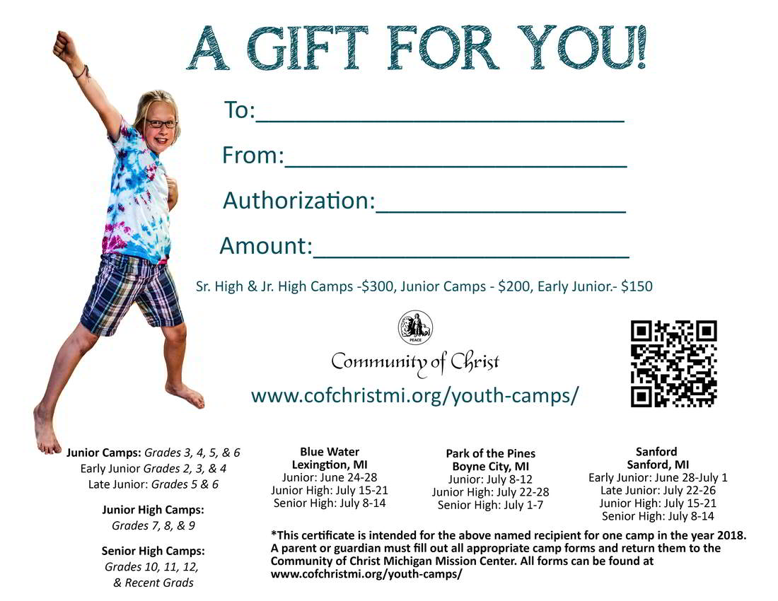 Youth camp gift certificates available community of christ purchase gift certificates for the youth in your life who could benefit from the life changing experience of a community of christ summer youth camp xflitez Gallery