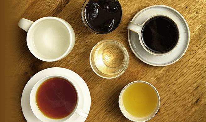 コーヒーからお茶まで豊富に楽しめる
