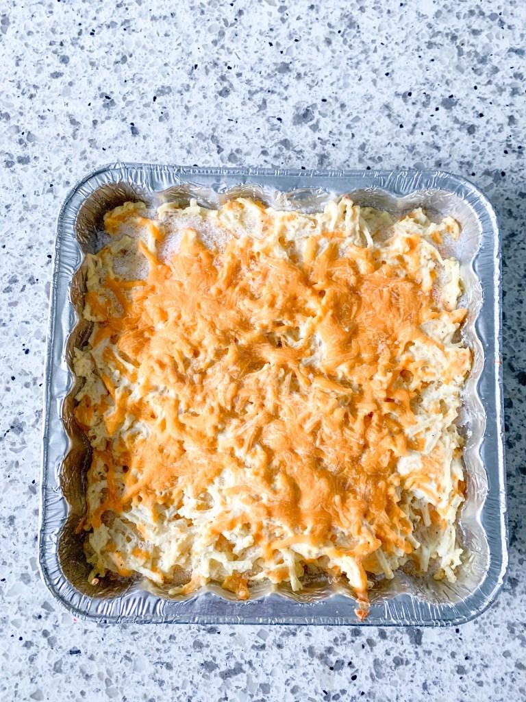 frozen cheesy hashbrown casserole in aluminum pan