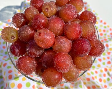sugared grapes in martini glass