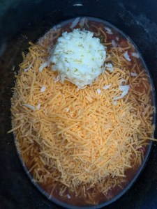 shredded cheeses, beer, salsa in crockpot